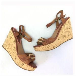 American Eagle Outfitters Brown Cork Wedges Sz 9